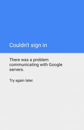 There was a problem communicating with Google Servers in Play Store