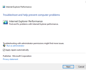 Fix Performance & Safety issues in Internet Explorer using these Troubleshooters