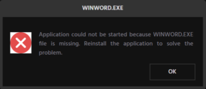 Fix WINWORD.EXE errors in Office applications on Windows 10
