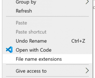 How to add File name extensions item to Context Menu in Windows 10
