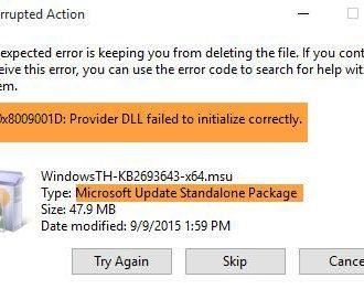 Windows Update Error 0x8009001D