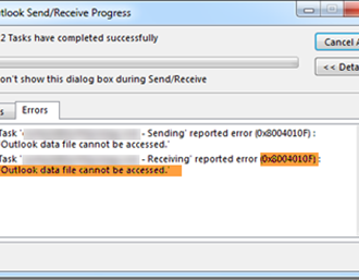 0x8004010F, Outlook data file cannot be accessed