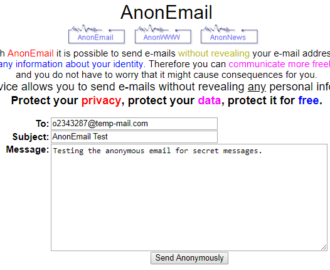 How to send anonymous email to somebody