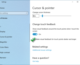 Make visual feedback for touch points darker and larger in Windows 10