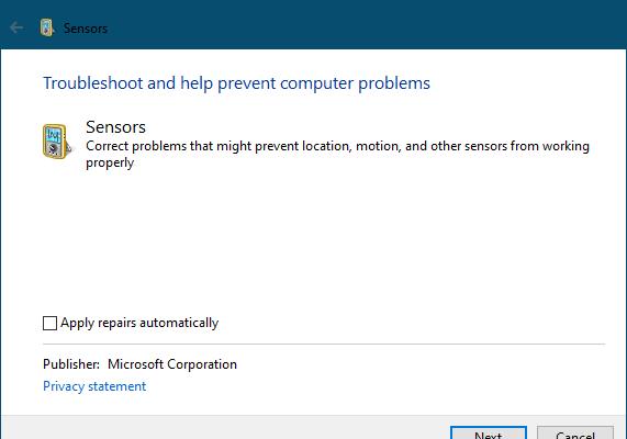 windows sensors troubleshooter