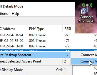 Create desktop shortcut to switch to specific WiFi network in Windows 10