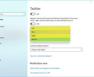 How to change the Taskbar Location in Windows 10