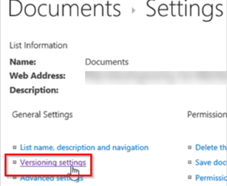 How to enable Versioning in SharePoint for a Library or List
