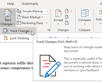 Use Review Feature to track changes in Word documents