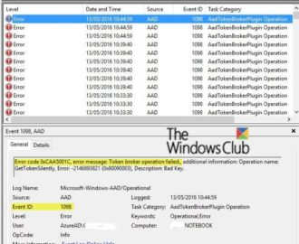 Event ID 1098: Error 0xCAA5001C, Token broker operation failed in Windows 10