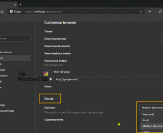 How to change the default font size and style in Microsoft Edge browser
