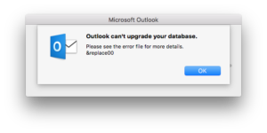 Outlook can't upgrade your database in macOS