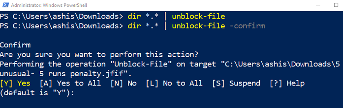 How to batch Unblock multiple files downloaded from the Internet