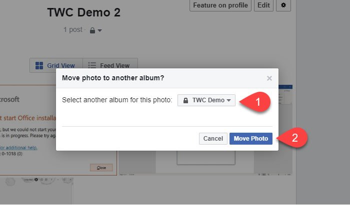 How to move a Facebook image from one Album to another