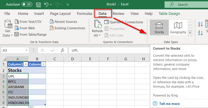 How to fetch real-time Stock Prices in Excel using Stock Quote