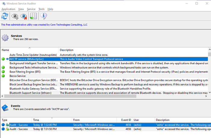 How to find which process stopped or started Windows Services