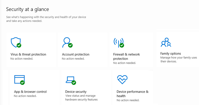 Windows Security Settings in Windows 10