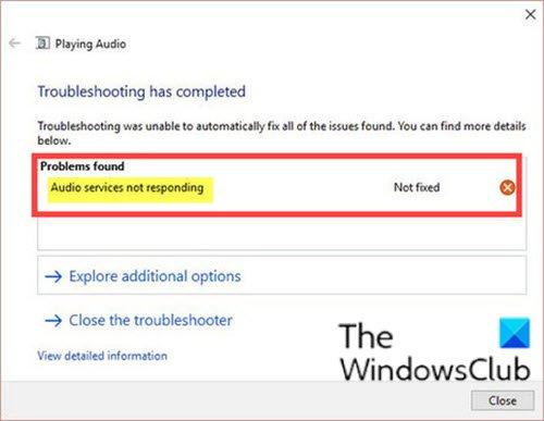 Audio services not responding error in Windows 10