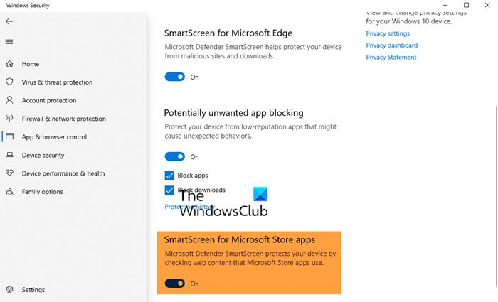 Enable or Disable SmartScreen Filter for Microsoft Store apps in Windows 10