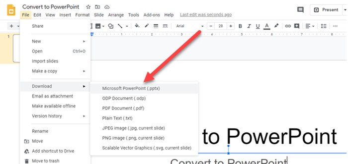How to convert Google Slides to PowerPoint and vice-versa