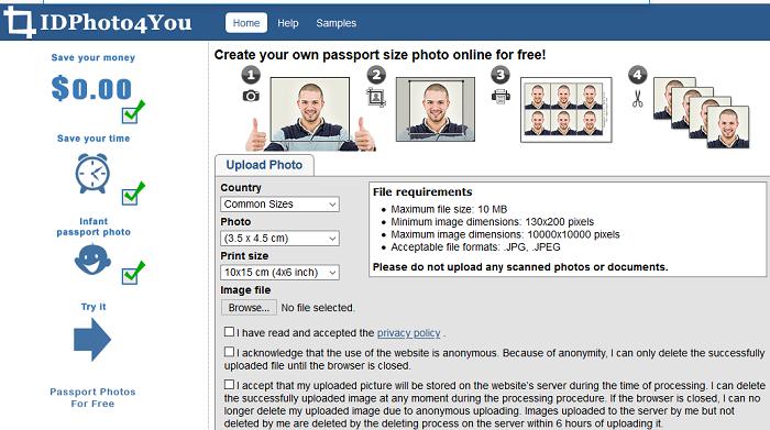 How to make & print passport size photos using IDPhoto4you