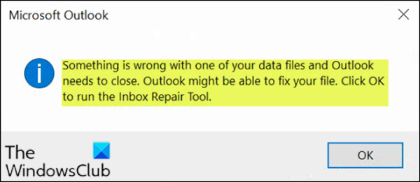 Something is wrong with one of your data files and Outlook needs to close