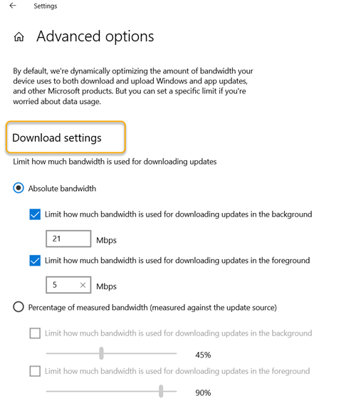 Specify Absolute bandwidth that can be used to download Windows Updates in Windows 10