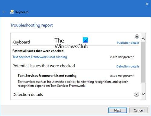 Fix Keyboard problems using Keyboard Troubleshooter in Windows 10
