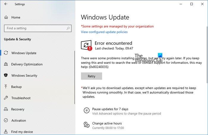 Fix Windows Update Error 0x80240035