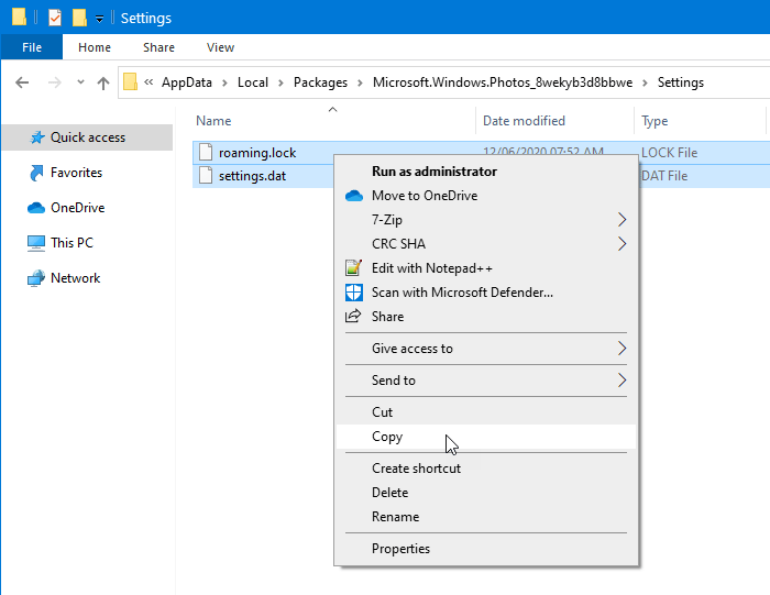 How to backup and restore Photos app settings in Windows 10