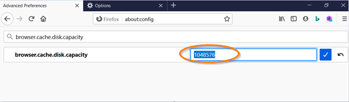 How to change Firefox Cache Size in Windows 10